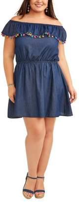 New Look Women's Plus Off Shoulder Flounce Dress with Pom Pom Trim