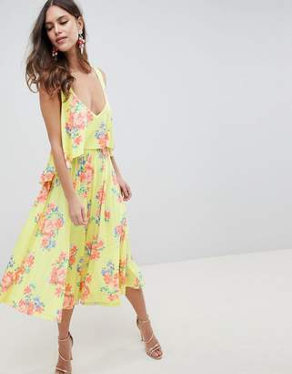 Asos Design Slinky Floral Cape Midi Dress