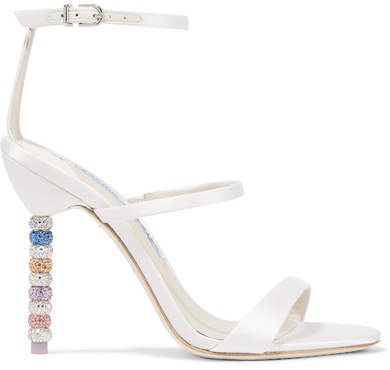 Sophia Webster Rosalind Crystal-embellished Satin Sandals - White