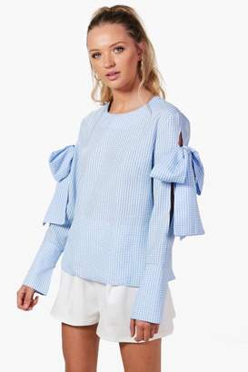 boohoo Heidi Gingham Tie Sleeve Blouse $42 thestylecure.com