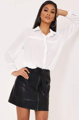 69a590b3ec5d I SAW IT FIRST Black Belted Faux Leather Mini Skirt