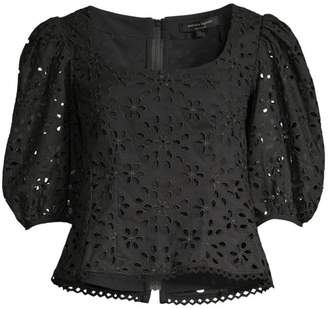 Nanette Lepore Ambient Cropped Lace Eyelet Blouse