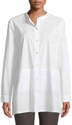 Eileen Fisher Band-Collar Cotton-Lawn Shirt