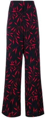 Diane von Furstenberg leaf print flared trousers