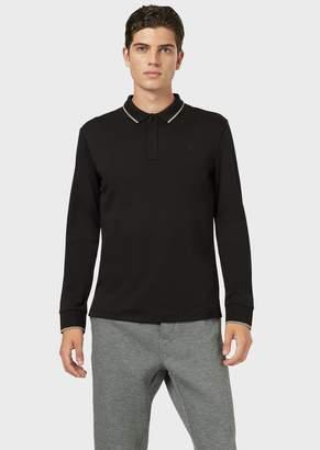 Emporio Armani Interlock Jersey Polo Shirt With Contrasting Trim