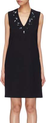 Victoria Beckham VICTORIA, Embellished crepe V-neck shift dress