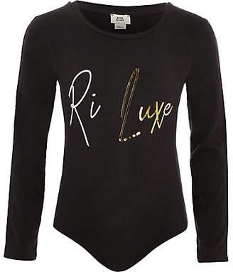 River Island Girls RI Active dark grey 'RI luxe' bodysuit