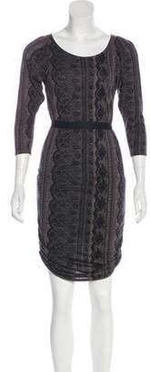 Juicy Couture Lace Print Silk-Blend Dress