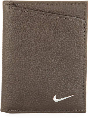 Nike Men's Pebbled Leather Trifold Wallet, Brown