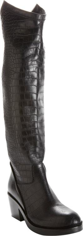 Haider Ackermann Croc-Embossed Back Zip Riding Boot