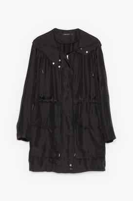Genuine People Oversized Silk Hooded Jacket
