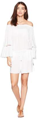 MICHAEL Michael Kors Solids Off the Shoulder Romper Cover-Up w/ Inset Ladder Trim Women's Swimsuits One Piece