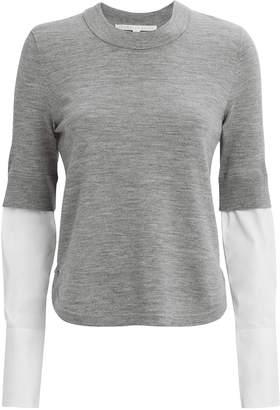 Veronica Beard Roscoe Poplin Sleeve Sweater