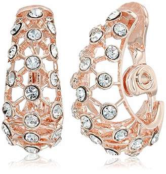 Anne Klein Women's Crystal J Hoop Clip Earrings