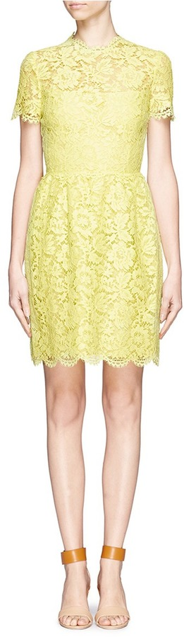VALENTINO Lace overlay pleated front dress