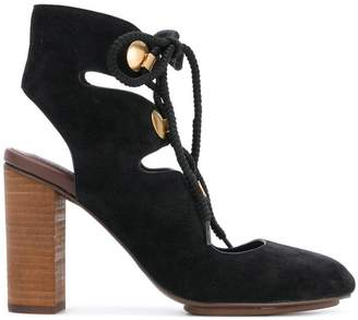 See by Chloe cut out lace-up pumps