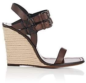 Saint Laurent Women's Leather Espadrille Wedge Sandals - Neutral