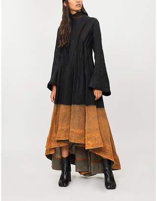 AGANOVICH Tulle-collar linen midi dress