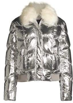 Generation Love Luke Faux Fur Metallic Bomber