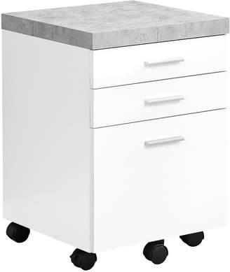 Monarch Specialties White 3-Drawer Filing Cabinet