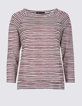 Marks and Spencer Striped Raglan Round Neck 3/4 Sleeve Top