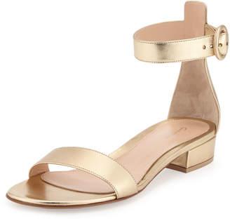Gianvito Rossi Portofino Leather Ankle-Wrap Sandals, Gold