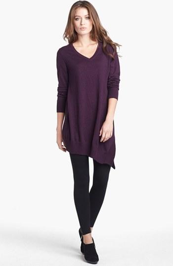 Eileen Fisher V-Neck Merino Jersey Layering Tunic Dress