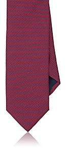 Barneys New York MEN'S GEOMETRIC-DOT SILK SATIN NECKTIE-RED