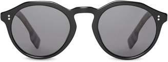 Burberry Vintage Check Detail Round Frame Sunglasses f4c60e3c74f