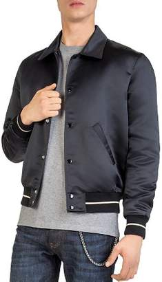 The Kooples Point-Collar Satin Bomber Jacket