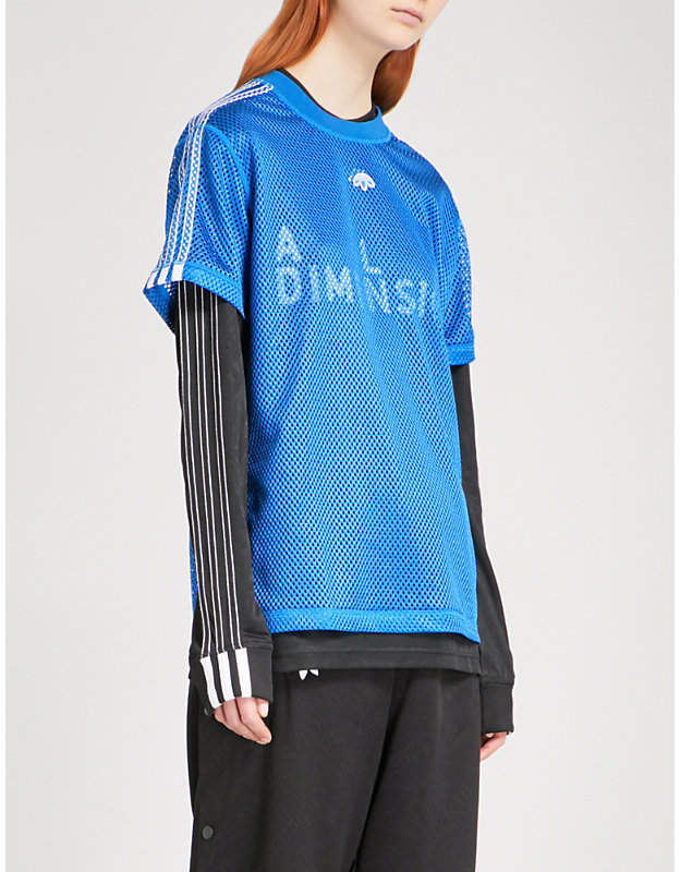Adidas X Alexander Wang 3-Stripes-detail mesh T-shirt
