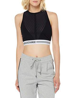 Armani Exchange A|X Women's Jersey Sporty Crop Top with Decorative Elastic Band