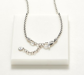 """Jai JAI Sterling Silver 18"""" Box Chain Necklace with Message, 19.6g"""