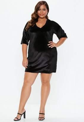 Missguided Plus Size Black V Neck Velvet T Shirt Dress