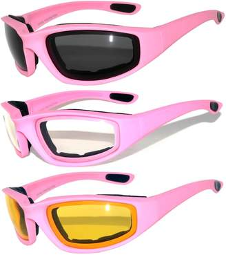 OWL Set of 3 Pairs Pink Motorcycle Padded Foam Glasses Yellow Clear Smoke Lens