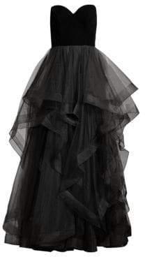 Basix II Black Label Strapless Velvet Cascade Tulle Gown