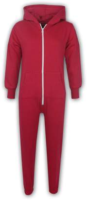 a2z4kids Kids Girls Boys Plain Color Fleece Hooded Onesie All in One Jumpsuit 5-13 Years