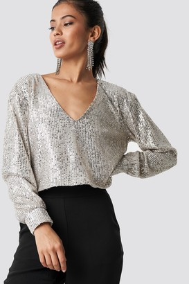 Hannalicious X Na Kd Oversized Wide Neck Sequin Blouse Silver
