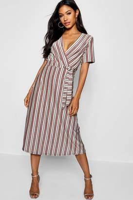 boohoo Metallic Stripe Wrap Midi Dress