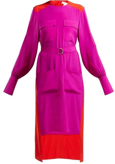 Colour Block Panelled Crepe Dress - Womens - Pink Multi