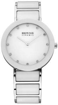 Swarovski BERING White Dial Ceramic Stainless Steel and Crystal Element Bracelet Watch