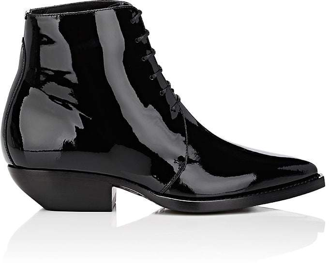 Saint Laurent Women's Theo Patent Leather Lace-Up Ankle Boots