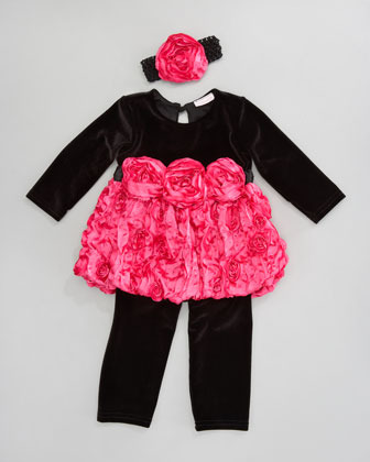 cachcach Velvet Tunic and Leggings Set, 12-24 Months