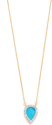 Adina 14k Gold Small Turquoise + Diamond Teardrop Pendant Necklace