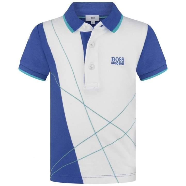 BOSS KidsBaby Boys Blue & White Patterned Polo Top