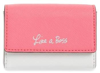 Rebecca Minkoff Like a Boss Leather Card Holder - PINK - STYLE