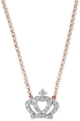 """Effy Diamond Crown 18"""" Pendant Necklace (1/8 ct. t.w.) in 14k Rose Gold"""