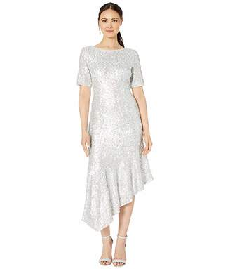 Adrianna Papell Stretch Sequin Asymmetrical Midi Dress