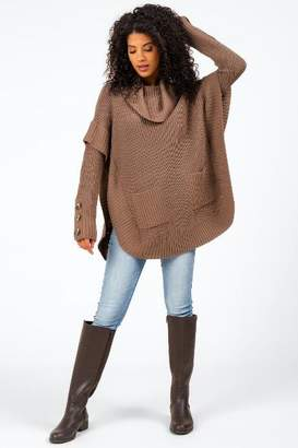 francesca's Mina Button Sleeve Poncho - Brown