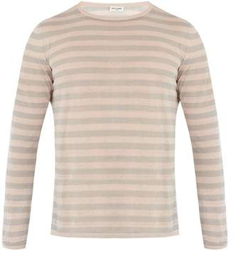 Saint Laurent - Crew Neck Striped Linen And Silk Blend Sweater - Mens - Grey Multi